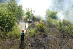 bruyère Pologne de Danzig de pompier d'incendie de combat Photographie stock