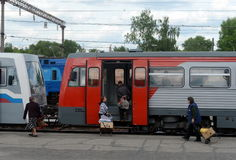 Passengers boarding in the RA-1 rail bus at Bryansk station. Stock Images