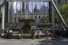 Bryant Park Fountain Arkivbilder