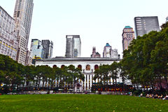 Bryant Park in New York at night Royalty Free Stock Photography