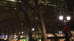 Bryant Park at night (1 of 2). A view or scene of New York City Life stock video