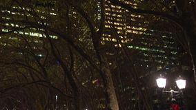Bryant Park at night (2 of 2). A view or scene of New York City Life stock footage