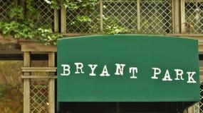 Bryant Park Sign stock photos