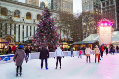Bryant Park Skating Stock Photos