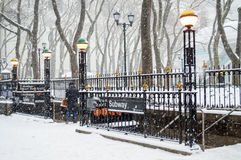 Bryant Park Subway Snow Stock Photos