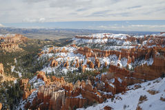 bryce峡谷启发点被看到的冬天 图库摄影