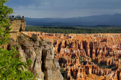 Bryce Canyon from Bryce Point with tourists at viewpoint Stock Image