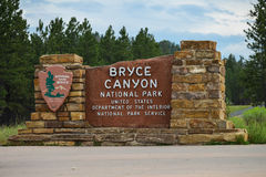 Bryce Canyon. Entrance sign to Bryce Canyon National Park royalty free stock image