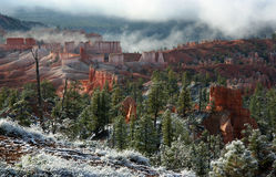 Bryce Canyon Fog. Morning fog and light snow in Bryce Canyon National Park, Utah, USA Stock Photo