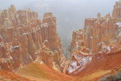 Bryce Canyon i snöstorm Royaltyfri Foto