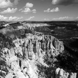 Bryce canyon landscape, USA. Bryce canyon landscape, scenic view of amphiteater, black and white, Utah, USA Royalty Free Stock Photo