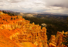 Bryce Canyon Layers of Hoodoo;s. Crimson-colored hoodoos, called the Legend People by the Indians Stock Photos