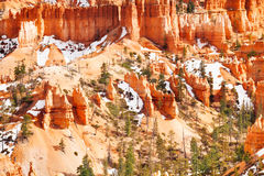Bryce Canyon mountains with remains of snow, Utah Royalty Free Stock Photo