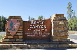 Bryce Canyon National Park Sign Royaltyfri Fotografi