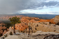 Bryce Canyon National Park - snow storm at sunset, United States of America stock photography