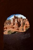 Bryce Canyon National Park, UT. Looking through a natural tunnel in Bryce Canyon National Park, Utah Stock Photography