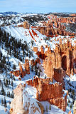 Bryce canyon panorama with snow in Winter Royalty Free Stock Photography