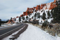 Bryce Canyon Road Snow Stock Photos