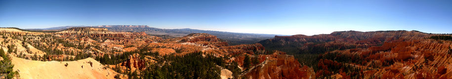 Bryce canyon sunrise point ultra wide panorama. Ultra wide panorama of Bryce Canyon National Park from Sunrise Point (Utah, USA Royalty Free Stock Photography