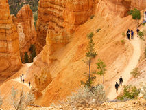 Bryce Canyon trail with hikers. Switchback trail in Bryce Canyon with hikers (some faces intentionally blurred stock photos