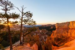 Bryce Canyon, Utah, perspective scenery in autumn at sunrise Royalty Free Stock Photography