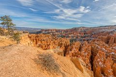 Bryce Canyon Utah Scenic in Winter. The scenic landscape of Bryce canyon National park Utah in winter Royalty Free Stock Photo