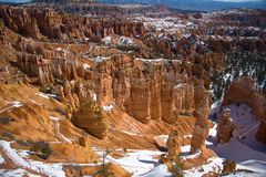 Bryce Canyon in winter. Scenic view of Bryce Canyon in winter viewed from the Paunsaugunt Plateau in southern Utah, U. S. A stock photos