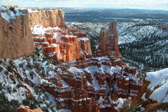 Bryce Canyon winter snow and sun spot Stock Images