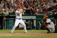 Bryce Harper and Buster Posey. Bryce Harper National League MVP at bat with Buster Posey of the San Francisco Giants catching Royalty Free Stock Photo