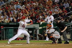 Bryce Harper and Buster Posey. Bryce Harper National League MVP at bat with Buster Posey of the San Francisco Giants catching. Jayson Werth on deck Stock Images