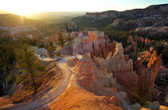 Bryce National Park Radiant Rocks & Hoodoos. Radiant morning sunlight sets the sculpted red rocks and hoodoos on fire with a glowing light Stock Image
