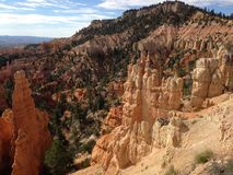 Bryce National Park, Utah. View of Bryce Canyon National Park, Utah. Clear day with a few scattered clouds. Looking at some of the sandstone who-doos in the park Stock Photo