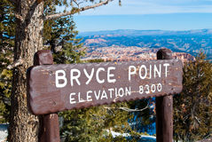 Bryce Point Sign Stock Photo