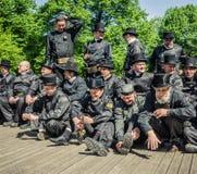 Brygady Tallinn komin przy świętowaniem dni Stary miasteczko Fotografia Royalty Free