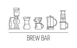 Brygdstång Uppsättning av linjära symboler för vektorsvart om kaffe som bryggar metoder Suga upp genom hävert, häll över, fransk  stock illustrationer