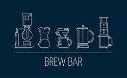 Brygdst?ng Ställ in av vita linjära symboler för vektorn om kaffe som bryggar metoder Suga upp genom h?vert, h?ll ?ver, fransk pr royaltyfri illustrationer