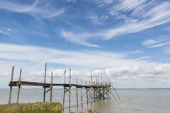 Brygga för att fiska i Gironde Royaltyfri Bild
