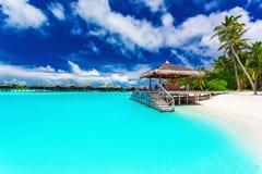Brygga och palmträd med moment in i den tropiska blåa lagun Arkivfoton