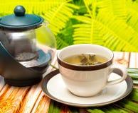 Bryggat grönt te föreställer uppfriskningar uppfriskning och teer arkivbilder