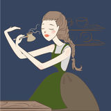 Bryggat kaffe för flicka barista i turk Arkivfoton