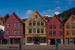 Bryggen. BERGEN, NORWAY - SEPTEMBER 21: The UNESCO World Heritage Site, Bryggen, in the city of Bergen, Norway, on September 21, 2010. Bryggen is famous for its Royalty Free Stock Photography