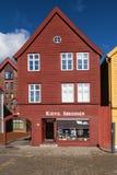 Bryggen 37 in Bergen. Bergen, Norway - September 18, 2017: Building number 37 of Bryggen in Bergen, Norway. Formerly commercial buildings of the Hanseatic League Stock Photography