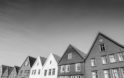 Bryggen in Bergen in black and white Royalty Free Stock Photography