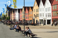 Bryggen in Bergen, Norway, during the summer Stock Photography
