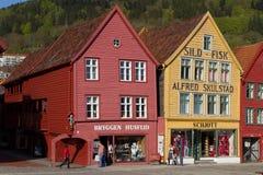 Bryggen, Bergen Norwegen Stockfotos