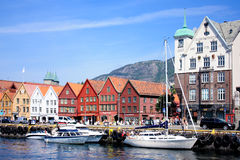 Bryggen and Bergen waterfront Royalty Free Stock Image