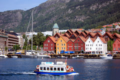 Bryggen and Bergen waterfront Royalty Free Stock Images