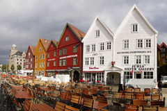 Bryggen Buildings in Bergen Harbor, Norway Stock Image