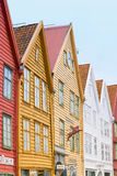 Bryggen Buildings, Bergen Norway. Colorful , old wooden buildings line the street in an area known as Bryggen, running along Vagen harbor in the port city of Stock Images
