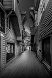 Bryggen BW. Wooden houses in Bergen, Norway Stock Photography